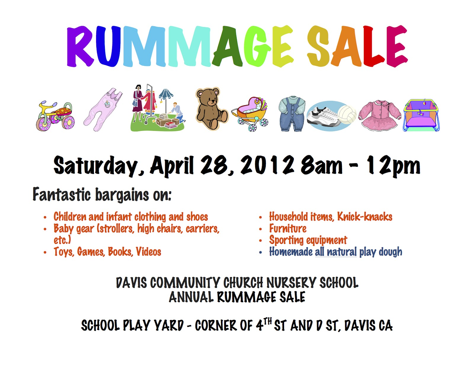 Davis Community Church Nursery School (DCCNS) Annual Rummage Sale 4