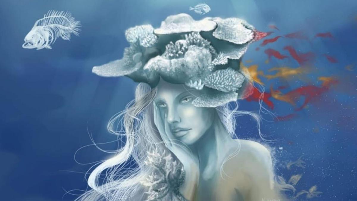 Article about Natascha Varona on her work on coral microbiomes and her blending of science andart